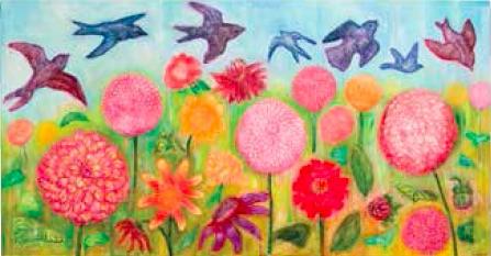 Gerri Ann Siwek, Birds in the Garden of Dahlias Again, 2008, Acrylic on canvas, 190 x 100cm