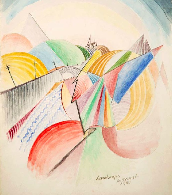Stanley Brunst, Landscape, Abstract, 1935, watercolour on paper, 31.0 x 23.0cm, Collection of the Regina Public Library