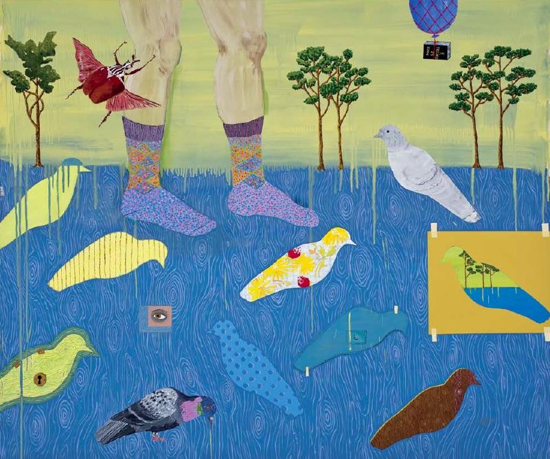Cynthia Girard, Feeding the Birds, 2010, acrylic on canvas, 152.4 x 182.88cm