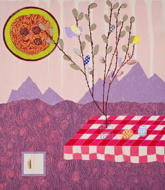 Cynthia Girard, Pussy Willows and Easter Eggs, 2010, acrylic on canvas, 182.88 x 152.4cm