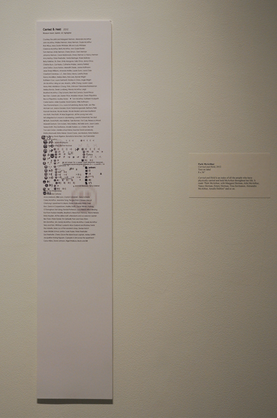 Park McArthur, Carried and Held, 2012, Text on label, 8 × 36