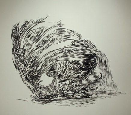 Kate Wilson, Untitled, 2012–2013, From an original drawing measuring 10.6 x 13.7 inches, three sections, Ink on semi-matte paper 86.4 x 144 inches, Courtesy of the artist and General Hardware Contemporary, Toronto