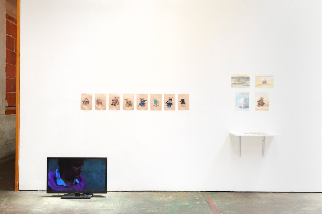 Performing Crip Time installation shot, Space4Art, San Diego, 2014