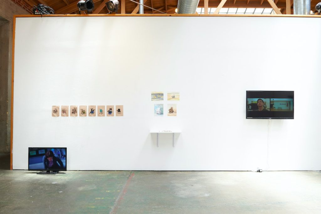 """Sunaura Taylor, Untitled drawings, 2014, 1st wheelchair, 1986, 2nd wheelchair, 1989, """"Zippie,"""" 3rd wheelchair, 1992, """"Jaggie,"""" 4th wheelchair, 1996, """"Luluwawa,"""" 5th wheelchair, 1998, 1st permobil, Alternate wheelchair, 1999, """"D.H. Mullins,"""" 6th wheelchair, 2006, 2nd permobil, 7th wheelchair, 2013, 3rd permobil"""