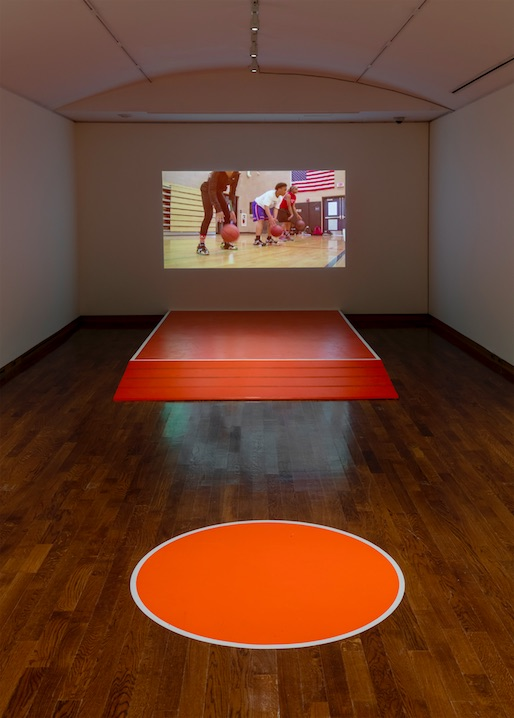 Wendy Jacob, Waves and Signs (Basketball), 2015, Wood, transducers, sound, video projection