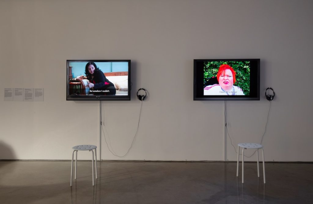 """(left) Arseli Dokumaci, """"Taskscape"""" in its Making: Disabled ways of living OTHERWISE, 2013, Video, 11:04 minutes; (right) Katherine Araniello, Superhuman Part 2, 2012, Video, 02:56 minutes"""