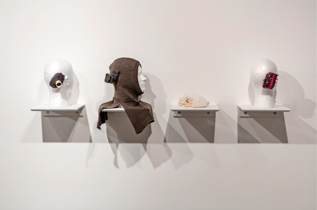 Darrin Martin, Noise Print Sculptures for BAHA (Bone Anchored Hearing Aids), 2008–2010, Six digital prints on Arches paper, four sculptures