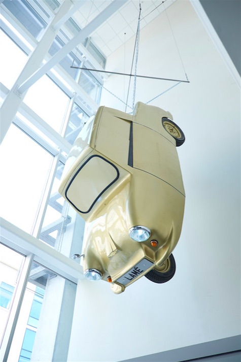 Tony Heaton, Gold Lamé, 2014, 9ft 9in x 4ft 6in, approx. Weight 600-900lbs, Fibreglass, steel, Perspex, rubber and gold leaf