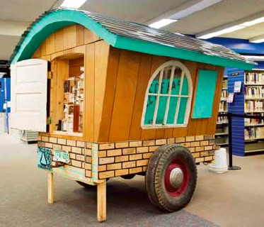 Todd Gronsdahl, Gus Middleton's Mobile Anti–Propaganda Dissemination Unit, The H.M.S. Bunk, 2009, 2.13 m tall, 2.26 m wide, 3.4 m long, recycled construction materials, truck chassis, house paint, paper, ink, sculpey