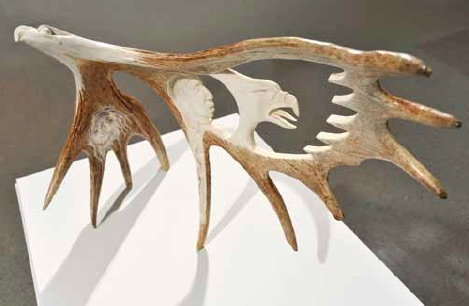 Rob Jerome, Untitled, antler carving, 58.0 x 80.0 x 3 1.0cm