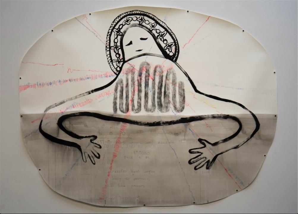 "Kate Clark, Organs Sensing, 2016, Ink and graphite drawing, 54 x 45"""